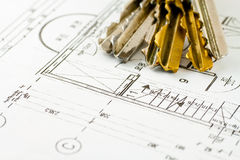 Keys to home. Keys to the apartment on building plan Stock Photography
