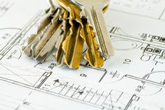 Keys to home. Keys to the apartment on building plan Stock Images