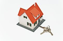 The keys to the house. On a white background Royalty Free Stock Photography