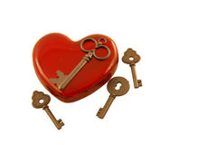 Keys to my heart. Keys to my red glass heart Royalty Free Stock Images