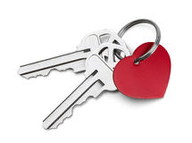 Keys to My Heart. Set of Keys with Red Heart Isolated on White Background Royalty Free Stock Photo