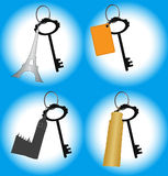 Keys to overseas appartment. Set of keys in batch with sightseeing places of countries: Eifel tower, Pisa tower, Big Ben Royalty Free Stock Image