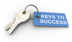 Keys to success. 3d render of keys with success tag royalty free illustration