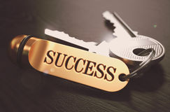 Keys to Success Concept on Golden Keychain. Royalty Free Stock Image