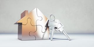 Keys with a  golden toy house royalty free illustration