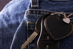 Keys in trouser pocket Royalty Free Stock Image