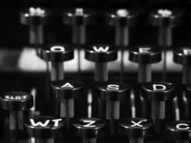 Keys of type writer. Close up photograph of the keys of a antique type writer Stock Photography