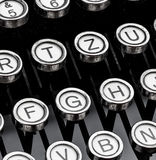 Keys on a typewriter. An old typewriter keyboard. symbolic photo for communication in former times Stock Photography