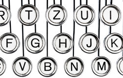 Keys on a typewriter. An old typewriter keyboard. symbolic photo for communication in former times Royalty Free Stock Images