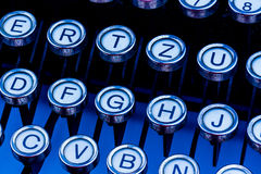 Keys on a typewriter. An old typewriter keyboard. symbolic photo for communication in former times Royalty Free Stock Photo