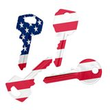 Keys with USA flag Royalty Free Stock Photography