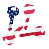 Keys with USA flag Royalty Free Stock Photography