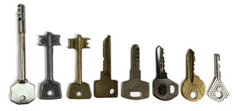 Keys of various form, on a white background Stock Photos