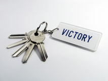 Keys of victory. A bunch of keys isolated on a white background Royalty Free Stock Photos