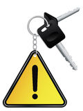 Keys and warning keyholder Royalty Free Stock Images