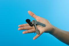 Keys on womans hand Royalty Free Stock Images