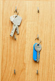 Keys on a wooden board Stock Photography