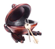 Keys in wooden bowl Stock Photo