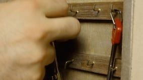 Keys in wooden box 2 stock video