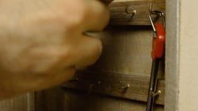 Keys in wooden box 3 stock footage