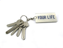The keys of your life. A bunch of keys isolated on a white background royalty free stock photography