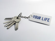 Keys of your life. A bunch of keys isolated on a white background Royalty Free Stock Photo