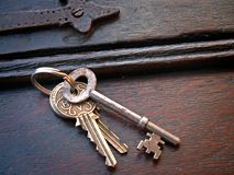 Keys181105. Bunch of keys on oak Royalty Free Stock Photo