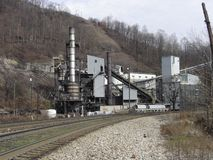Keystone coal prep plant. Coal preparation plant at Keystone, McDowell County, West Virginia. In the foreground are trains on the Norfolk-Southern railroad stock image