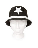 Keystone Cop Hat Isolated with a Clipping Path. Old fashioned Keystone cop hat isolated on white. Resting on a model head for proper perspective. Contains a stock images