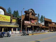 Keystone, South Dakota Downtown with Dakota Leather Outlet. The small town in The Black Hills is a tourist destination every summer for the annual Sturgis royalty free stock photography