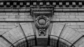 Keystone with Wreath. Black and White High Contrast Shallow Depth of Field stock image