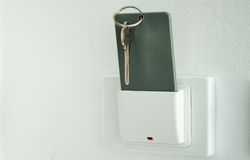 Keytag,Magnetic card in key box holder switch. Stock Images