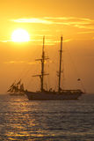 Keywest Florida Sunset Sailing From Mallory Square. This beautiful sunset over two large sailing schooners illustrates the incredible view enjoyed from Mallory Royalty Free Stock Images