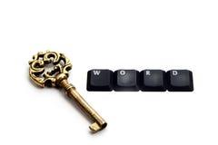 Keyword. Golden Key plus keyboard buttons forming Keyword stock photo