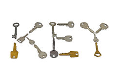 Keyword. Set of keys forming word Key isolated on white Royalty Free Stock Image