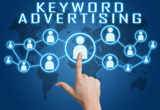 Keyword Advertising. Concept with hand pressing social icons on blue world map background royalty free illustration