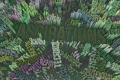 Keyword of Aspirations. Colorful 3D rendering. Shape composition. Keyword of Aspirations. Shape composition, block, geometric structure. Decorative stock illustration