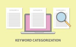 Keyword category categorization with laptop and paper document magnifying glass stock illustration