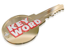 Keyword Gold Key Password Security Optimizaiton Access. Keyword words on a gold key to illustrate special words to search to find what you're looking for and get Stock Photography