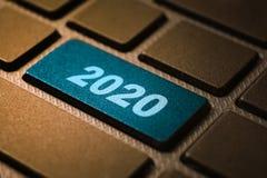 2020 keyword on keyboard. 2020 keyword concept on computer keyboard technology background macro shot stock images