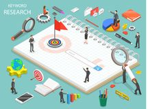 Keyword research flat isometric vector concept. Team of colleagues are standing around the search line that is a part of the drawn key vector illustration