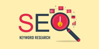 Keyword research - Search engine optimization - Keyword seo. Flat design seo banner. Concept of keyword research, seo keyword selection process. Flat design vector illustration