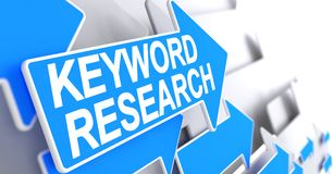 Keyword Research - Text on Blue Arrow. 3D. Keyword Research - Blue Arrow with a Message Indicates the Direction of Movement. Keyword Research, Text on the Blue vector illustration