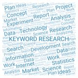 Keyword Research word cloud. Wordcloud made with text only vector illustration