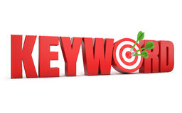 Keyword target. Red keyword text and dart hitting a target white background stock illustration
