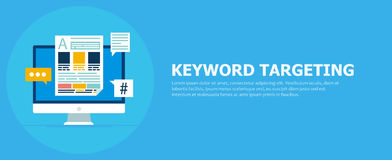 Keyword Targeting Banner. Computer with text and icons. Vector flat illustration stock illustration