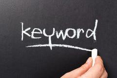 Keyword topic. Hand writing Keyword topic on chalkboard stock photos