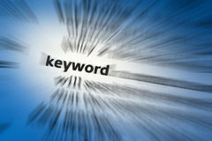 Keyword. A word used as an Index term to retrieve documents in an information system such as a catalog or a search engine royalty free stock image