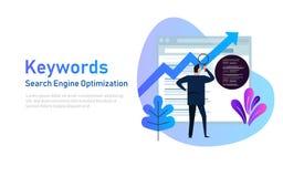 Keywording, investigación de la palabra clave de SEO, palabras claves que alinean la optimización en Search Engine Ejemplo del ve stock de ilustración