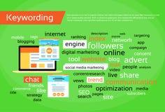 Keywording Search Engine Optimization Concept. Research Keywords Seo Web Development Flat Vector Illustration Royalty Free Stock Photo